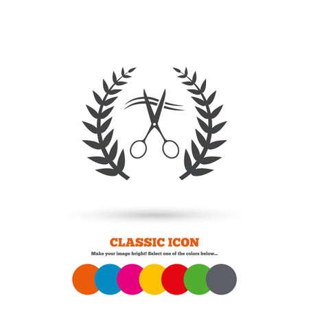 cut hair: Scissors cut hair sign icon. Hairdresser or barbershop laurel wreath symbol. Winner award. Classic flat icon. Colored circles. Vector
