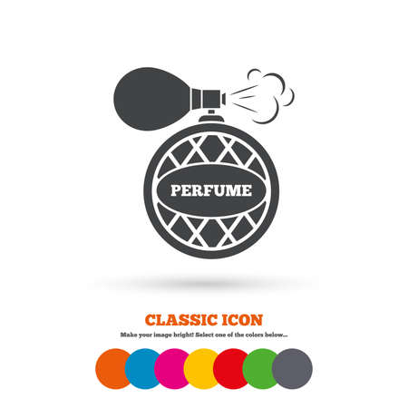 fragrance: Perfume bottle sign icon. Glamour fragrance symbol. Classic flat icon. Colored circles. Vector