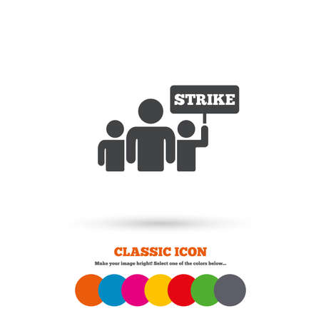 activists: Strike sign icon. Group of people symbol. Industrial action. People holding protest banner. Classic flat icon. Colored circles. Vector Illustration