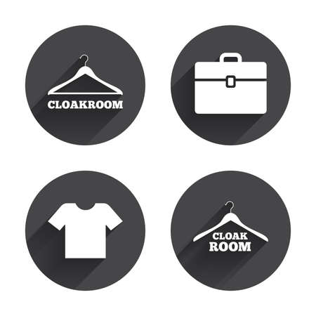 cloakroom: Cloakroom icons. Hanger wardrobe signs. T-shirt clothes and baggage symbols. Circles buttons with long flat shadow. Vector