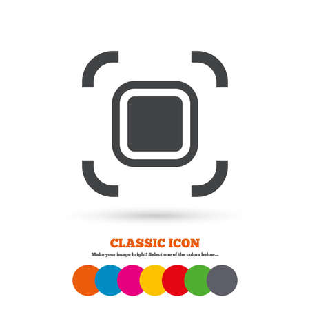 autofocus: Autofocus zone sign icon. Photo camera settings. Classic flat icon. Colored circles. Vector Vettoriali
