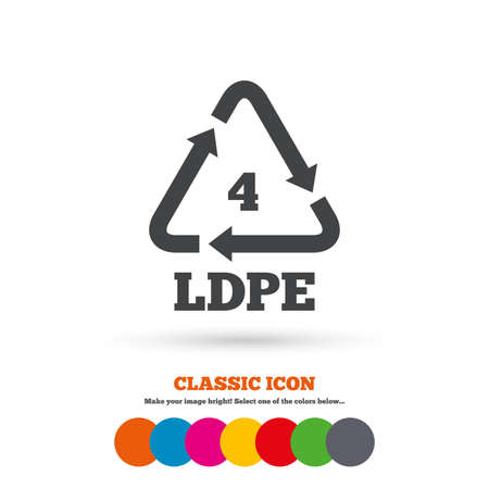 monomer: Ld-pe 4 icon. Low-density polyethylene sign. Recycling symbol. Classic flat icon. Colored circles. Vector