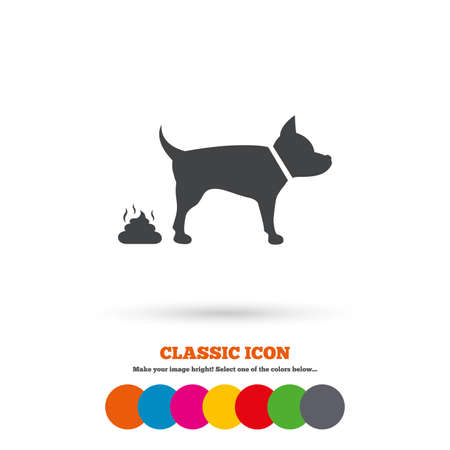 feces: Feces sign icon. Clean up after pets symbol. Put it in the bag. Classic flat icon. Colored circles. Vector