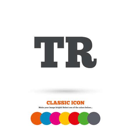 tr: Turkish language sign icon. TR Turkey translation symbol. Classic flat icon. Colored circles. Vector