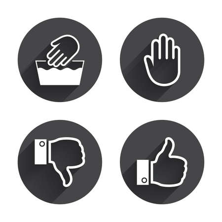 washable: Hand icons. Like and dislike thumb up symbols. Not machine washable sign. Stop no entry. Circles buttons with long flat shadow. Vector