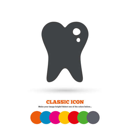 filling: Caries tooth icon. Tooth filling sign. Dental care symbol. Classic flat icon. Colored circles. Vector