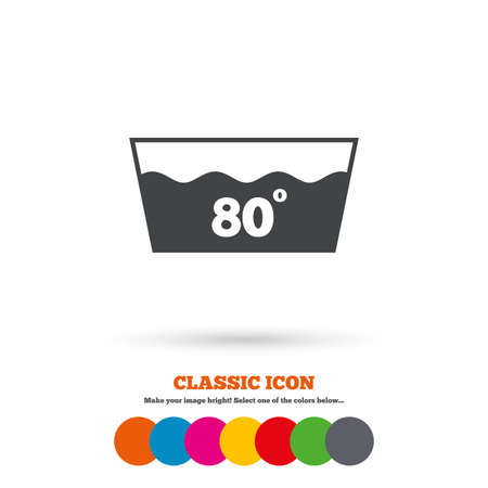 washable: Wash icon. Machine washable at 80 degrees symbol. Classic flat icon. Colored circles. Vector
