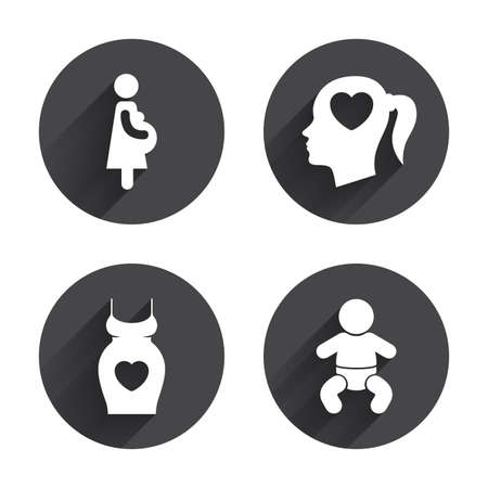 maternity: Maternity icons. Baby infant, pregnancy and dress signs. Head with heart symbol. Circles buttons with long flat shadow. Vector