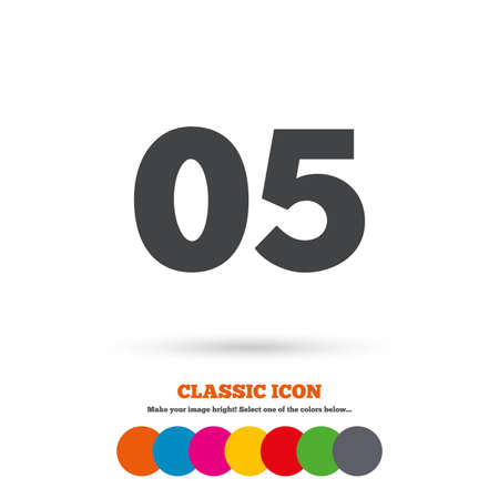fifth: Fifth step sign. Loading process symbol. Step five. Classic flat icon. Colored circles. Vector
