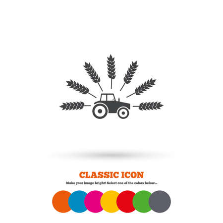agricultural industry: Tractor with Wheat corn sign icon. Agricultural industry symbol. Classic flat icon. Colored circles. Vector
