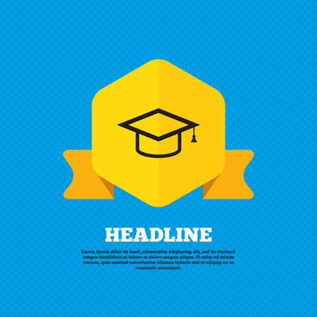 higher quality: Graduation cap sign icon. Higher education symbol. Yellow label tag. Circles seamless pattern on back. Vector