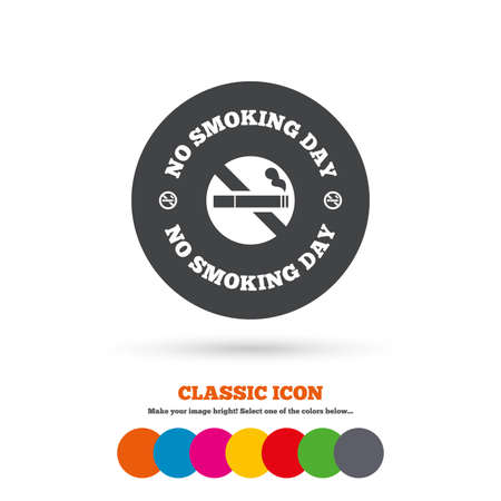 quit: No smoking day sign icon. Quit smoking day symbol. Classic flat icon. Colored circles. Vector