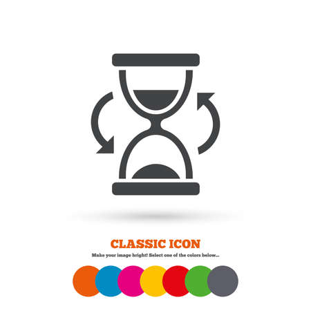sand timer: Hourglass sign icon. Sand timer symbol. Classic flat icon. Colored circles. Vector