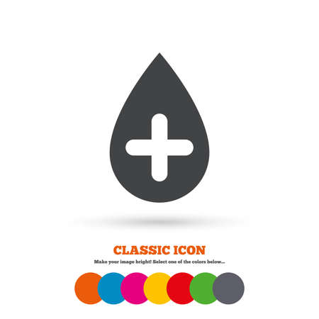 Water drop with plus sign icon. Softens water symbol. Classic flat icon. Colored circles. Vector Illustration
