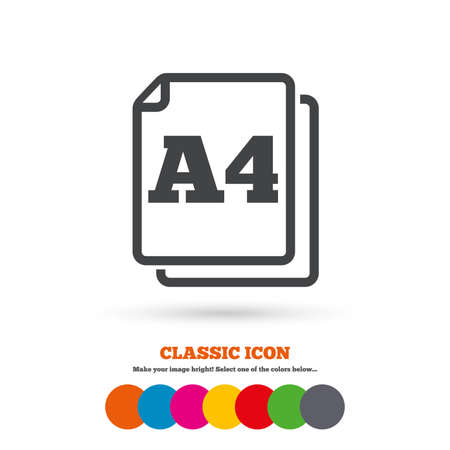 standard size: Paper size A4 standard icon. File document symbol. Classic flat icon. Colored circles. Vector
