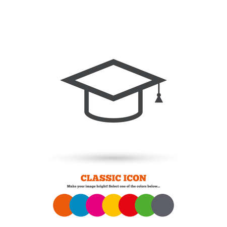 higher: Graduation cap sign icon. Higher education symbol. Classic flat icon. Colored circles. Vector Illustration