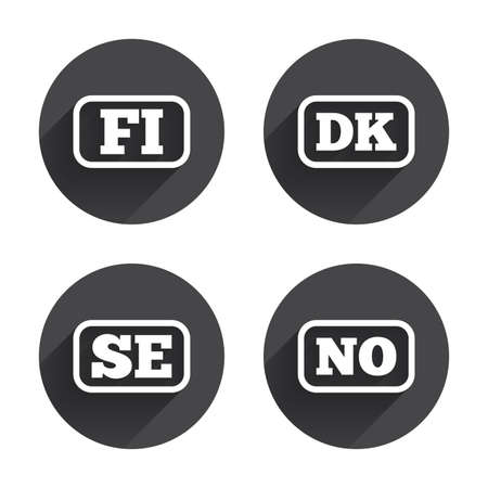 icon buttons: Language icons. FI, DK, SE and NO translation symbols. Finland, Denmark, Sweden and Norwegian languages. Circles buttons with long flat shadow. Vector Illustration