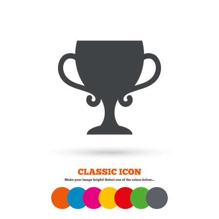 awarding: Winner cup sign icon. Awarding of winners symbol. Trophy. Classic flat icon. Colored circles. Vector Illustration