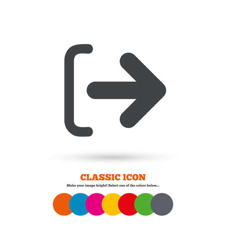 sign out: Logout sign icon. Sign out symbol. Arrow icon. Classic flat icon. Colored circles. Vector Illustration