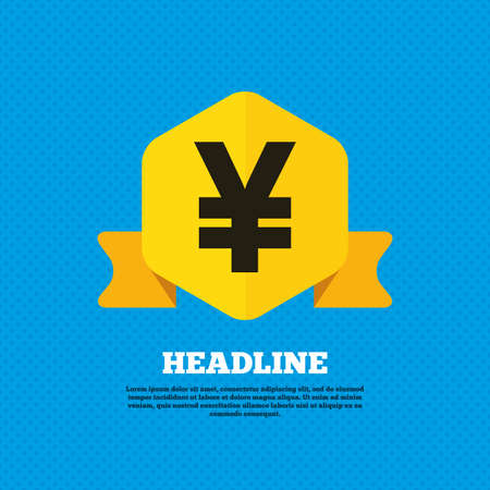 jpy: Yen sign icon. JPY currency symbol. Money label. Yellow label tag. Circles seamless pattern on back. Vector