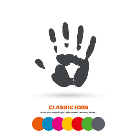 Hand print sign icon. Stop symbol. Classic flat icon. Colored circles. Vector