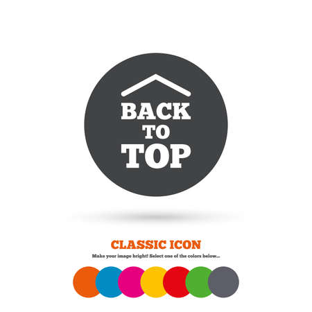 scroll up: Back to top arrow sign icon. Scroll up page symbol. Classic flat icon. Colored circles. Vector