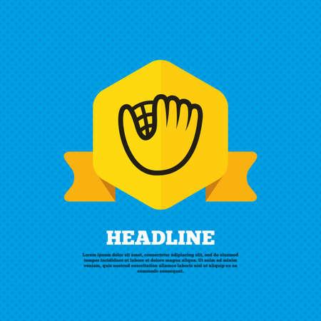 mitt: Baseball glove or mitt sign icon. Sport symbol. Yellow label tag. Circles seamless pattern on back. Vector
