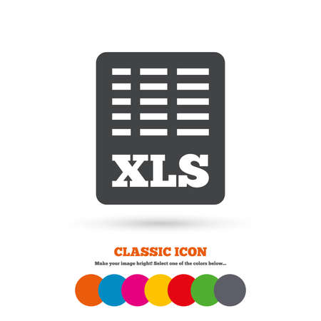 Excel file document icon. Download xls button. XLS file symbol. Classic flat icon. Colored circles. Vector