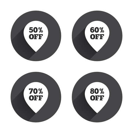 50 to 60: Sale pointer tag icons. Discount special offer symbols. 50%, 60%, 70% and 80% percent off signs. Circles buttons with long flat shadow. Vector Illustration