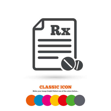 rx: Medical prescription Rx sign icon. Pharmacy or medicine symbol. With round tablets. Classic flat icon. Colored circles. Vector
