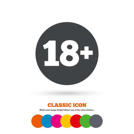 18 years old: 18 plus years old sign. Adults content icon. Classic flat icon. Colored circles. Vector Illustration
