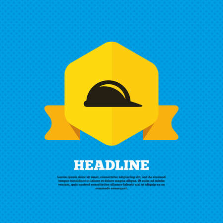 hard hat icon: Hard hat sign icon. Construction helmet symbol. Yellow label tag. Circles seamless pattern on back. Vector