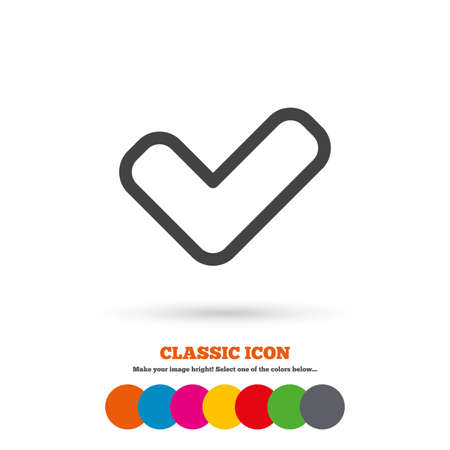 yes button: Check sign icon. Yes button. Classic flat icon. Colored circles. Vector