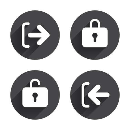 lock out: Login and Logout icons. Sign in or Sign out symbols. Lock icon. Circles buttons with long flat shadow. Vector