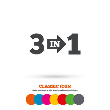 complement: Three in one suite sign icon. 3 in 1 symbol with arrow. Classic flat icon. Colored circles. Vector