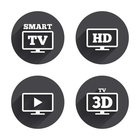 3d mode: Smart TV mode icon. Widescreen symbol. High-definition resolution. 3D Television sign. Circles buttons with long flat shadow. Vector Illustration