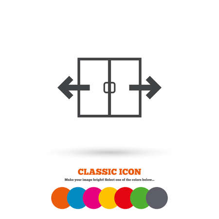 automatic doors: Automatic door sign icon. Auto open symbol. Classic flat icon. Colored circles. Vector Illustration