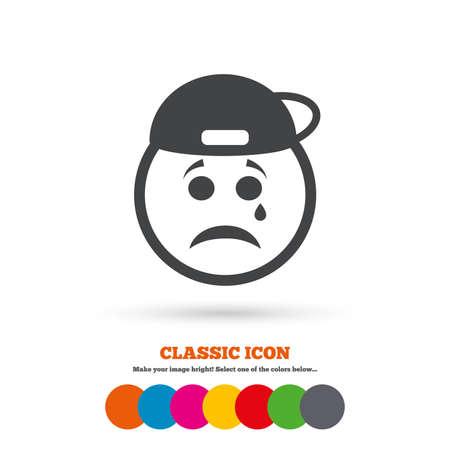 rapero: cara triste con el rapero icono de la muestra de l�grimas. El llanto s�mbolo de chat. icono plano cl�sico. c�rculos de colores. Vector