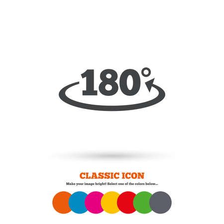 math icon: Angle 180 degrees sign icon. Geometry math symbol. Classic flat icon. Colored circles. Vector