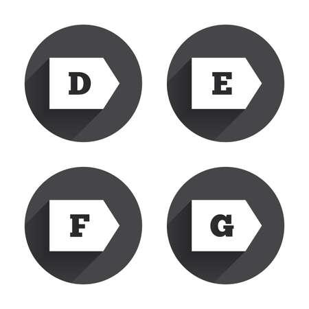 consumo energia: Classe di efficienza energetica icone. Energia simboli consumo segno. Classe D, E, F e G. Circles pulsanti con lunga ombra piatta. Vettore Vettoriali