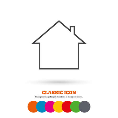 main: Home sign icon. Main page button. Navigation symbol. Classic flat icon. Colored circles. Vector Illustration