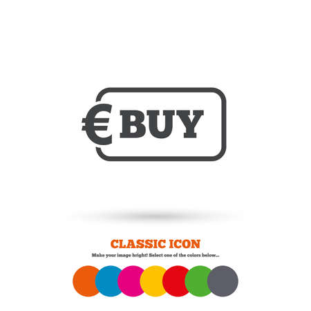 eur: Buy sign icon. Online buying Euro eur button. Classic flat icon. Colored circles. Vector