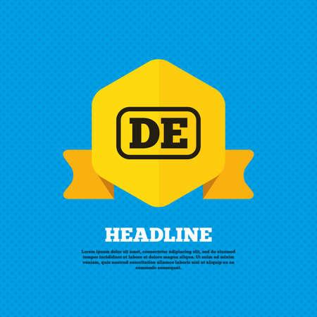 deutschland: German language sign icon. DE Deutschland translation symbol with frame. Yellow label tag. Circles seamless pattern on back. Vector