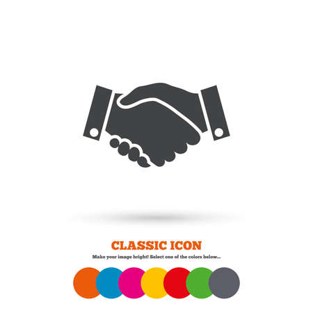 business symbol: Handshake sign icon. Successful business symbol. Classic flat icon. Colored circles. Vector