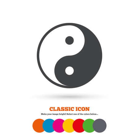 ying and yang: Ying yang sign icon. Harmony and balance symbol. Classic flat icon. Colored circles. Vector Illustration