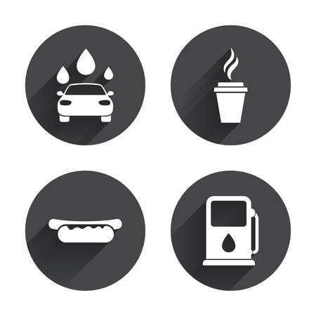 hot drinks: Petrol or Gas station services icons. Automated car wash signs. Hotdog sandwich and hot coffee cup symbols. Circles buttons with long flat shadow. Vector Illustration