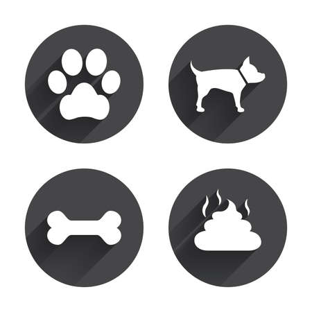 feces: Pets icons. Dog paw and feces signs. Clean up after pets. Pets food. Circles buttons with long flat shadow. Vector