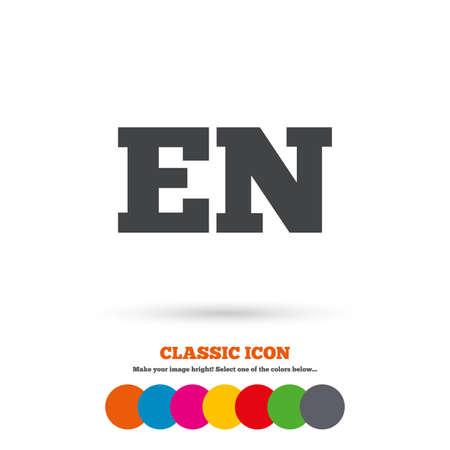 en: English language sign icon. EN translation symbol. Classic flat icon. Colored circles. Vector
