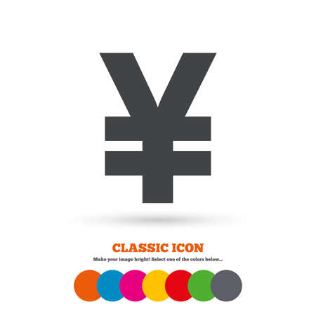 yen sign: Yen sign icon. JPY currency symbol. Money label. Classic flat icon. Colored circles. Vector
