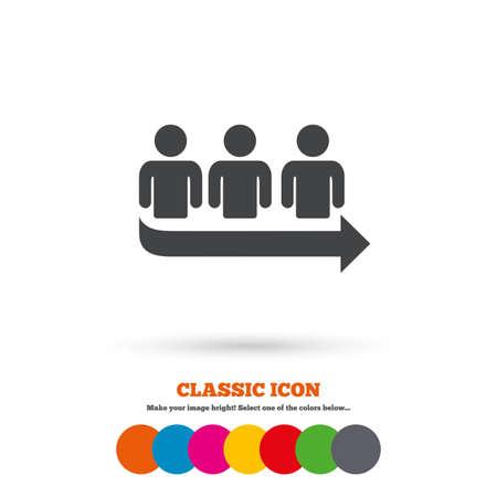 fila de espera: Cola signo icono. S�mbolo largo turno. Icono plana Classic. C�rculos coloreados. Vector Vectores